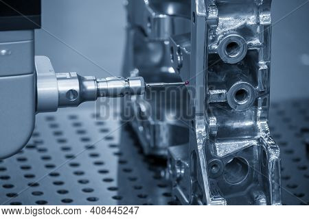 The  Multi-axis Cmm Machine Checking The Aluminum Cylinder Block Parts . The Quality Control Of Auto