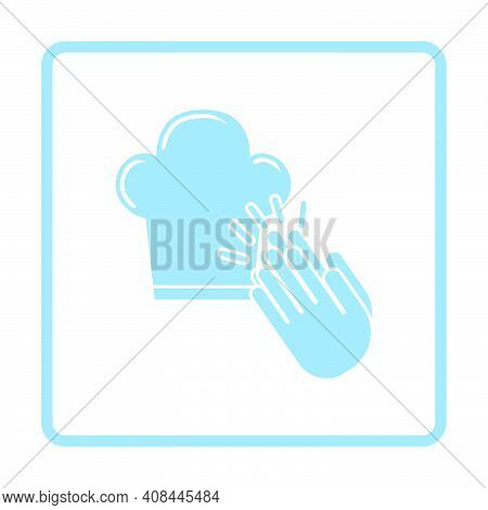 Clapping Palms To Toque Icon. Blue Frame Design. Vector Illustration.
