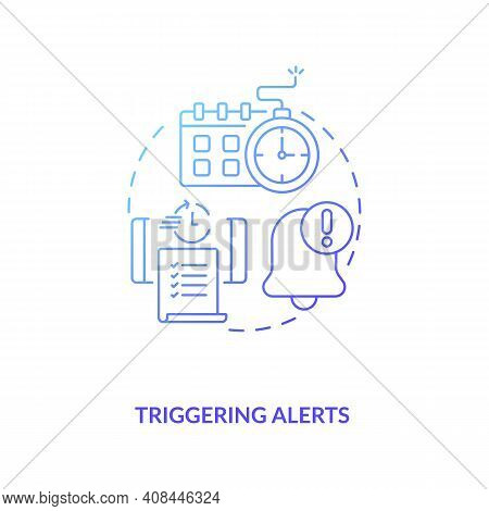 Triggering Alerts Concept Icon. Contract Management Software Functions. Contract Management Between