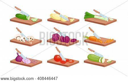 Vegetable Slices With Kitchen Knife Isometric Set, Fresh Raw Sliced Vegetables On Board