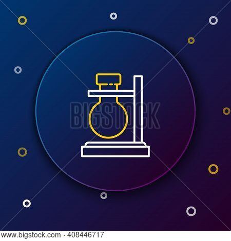 Line Glass Test Tube Flask On Stand Icon Isolated On Blue Background. Laboratory Equipment. Colorful