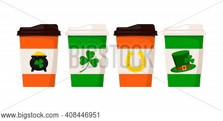 St Patrick Day Coffee Or Tea Cups. Hot Drink Mug With Good Luck Irish Charm Clover, Horseshoe, Cauld
