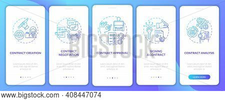 Contract Lifecycle Steps Onboarding Mobile App Page Screen With Concepts. Contract Points Discussing