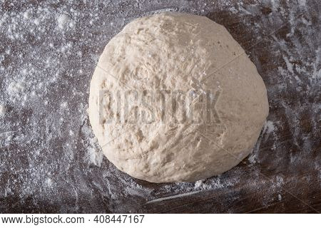 Yeast-free Bread Dough. Preparing Of Homemade Healthy Bread. Top View