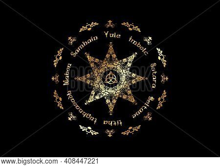 Gold Book Of Shadows Wheel Of The Year Modern Paganism Wicca. Wiccan Calendar And Holidays. Golden C