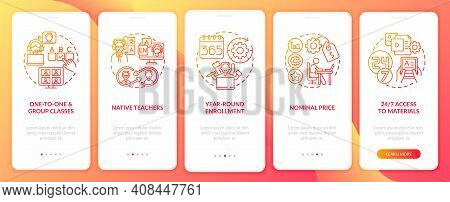 Online English Courses Benefits Onboarding Mobile App Page Screen With Concepts. Native Tutors, Grou