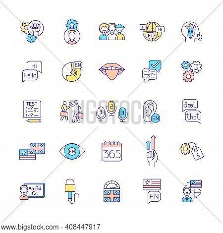 Language Acquisition Rgb Color Icons Set. Cultural Diversity. Language Proficiency. Exam Preparation