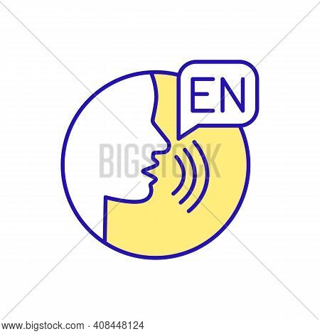 Practicing Speaking Skills Rgb Color Icon. English Conversation. Language Exchange Partner. Improvin