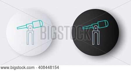 Line Telescope Icon Isolated On Grey Background. Scientific Tool. Education And Astronomy Element, S