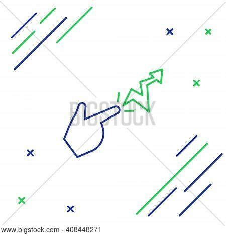 Line Spell Icon Isolated On White Background. The Sorcerer Hand Performing Spells. Colorful Outline