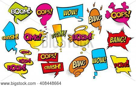 Comic colored hand drawn speech bubbles. Set retro cartoon stickers. Funny design items illustration. Comic text WOW, boom, bang collection sound effects in pop art style