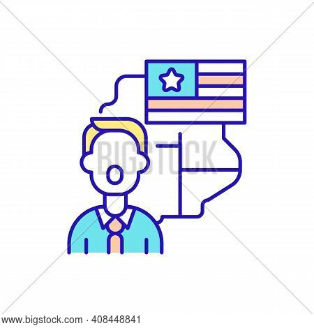 Native English Speakers Rgb Color Icon. American Accent Training. Speaking Language Easily And Corre