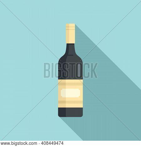 Wine Bottle Icon. Flat Illustration Of Wine Bottle Vector Icon For Web Design
