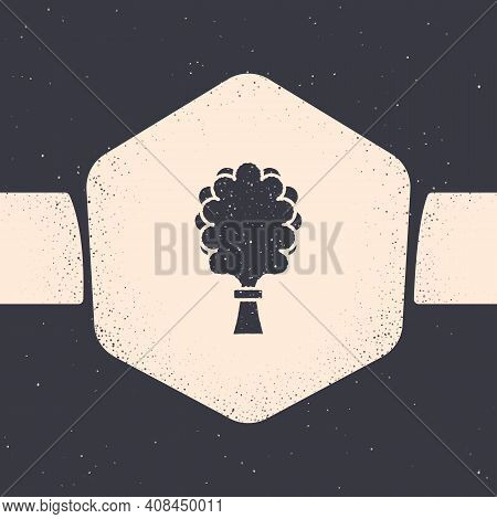 Grunge Sauna Broom Icon Isolated On Grey Background. Broom From Birch Twigs, Branches For Russian St