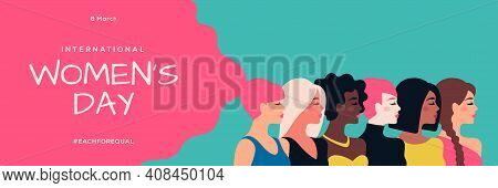 International Womens Day Blue And Pink Background With Different Woman Face Profile. Greeting Card,