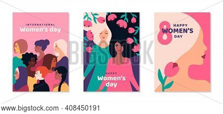 International Womens Day Posters Set. Background With Different Woman Face And Flowers. 8 March Card