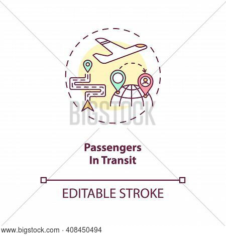 Passenger In Transit Concept Icon. Business Travel During Covid 19 Idea Thin Line Illustration. New