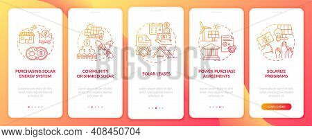 Solar Leases Onboarding Mobile App Page Screen With Concepts. Solar Energy Solution. Solarize Progra
