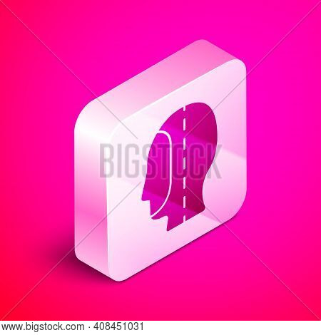 Isometric Diving Hood Icon Isolated On Pink Background. Spearfishing Hat Winter Swim Hood. Diving Un