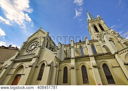 Bern Minster Or Bern Cathedral, A Swiss Reformed Cathedral In Old City Of Bern, Switzerland. Built I