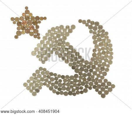 Old Soviet Money Laid Out In The Form Of A Hammer And Sickle Symbol. The Sign Of The Socialist State