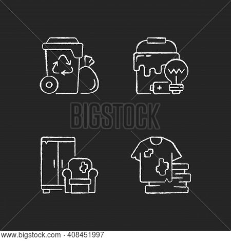 Garbage Disposal Chalk White Icons Set On Black Background. Residential Waste Collection. Solid Mate