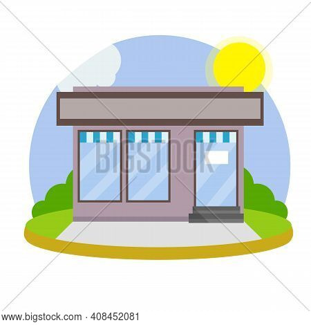 Small Shop And Store. Cartoon Flat Illustration.