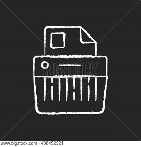 Paper Shredding Chalk White Icon On Black Background. Cutting Paper Into Either Strips, Fine Particl