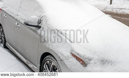 The Car Is Covered With Snow, The Car Is Covered With An Avalanche. 16.02.201 Ukraine