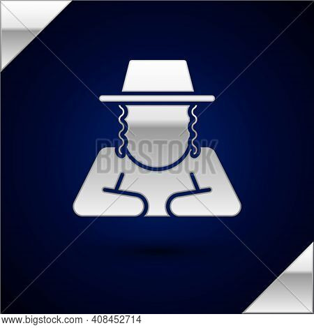 Silver Orthodox Jewish Hat With Sidelocks Icon Isolated On Dark Blue Background. Jewish Men In The T