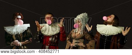 Blowing Pink Bubble Gums. Medieval People As A Royalty Persons In Vintage Clothing On Dark Backgroun
