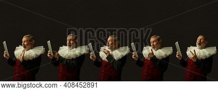 Scrolling Tablet, Videocalling, Taking Selfie. Medieval Man As A Royalty Person On Dark Background.