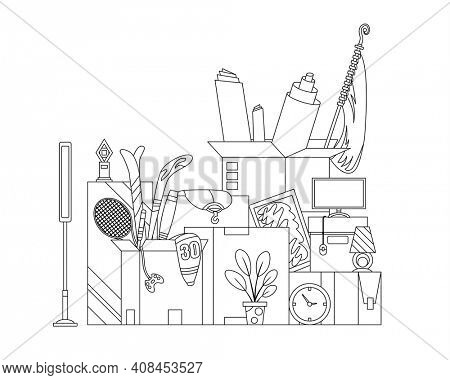 Moving boxes. Concept for home moving. Company moved to new office, home. Paper cardboard boxes with various thing. Family relocated. Delivery box package with various household thing. Coloring style