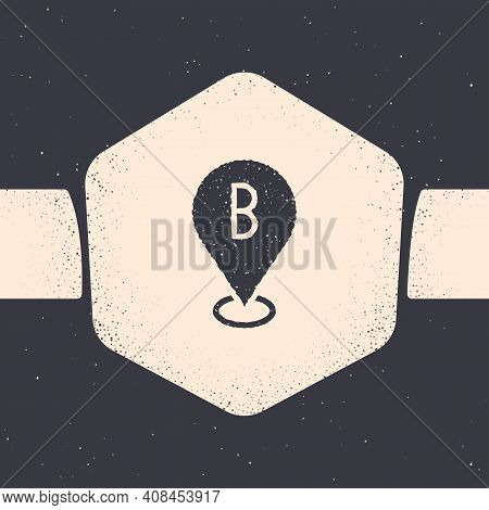 Grunge Map Pin Icon Isolated On Grey Background. Navigation, Pointer, Location, Map, Gps, Direction,
