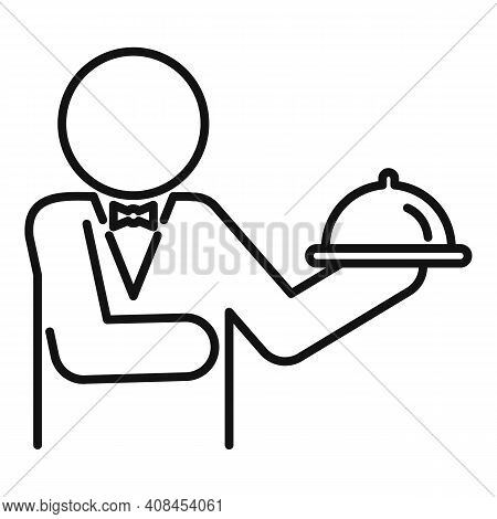 Waiter Food Tray Icon. Outline Waiter Food Tray Vector Icon For Web Design Isolated On White Backgro