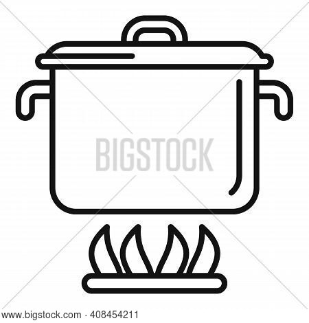 Saucepan Icon. Outline Saucepan Vector Icon For Web Design Isolated On White Background