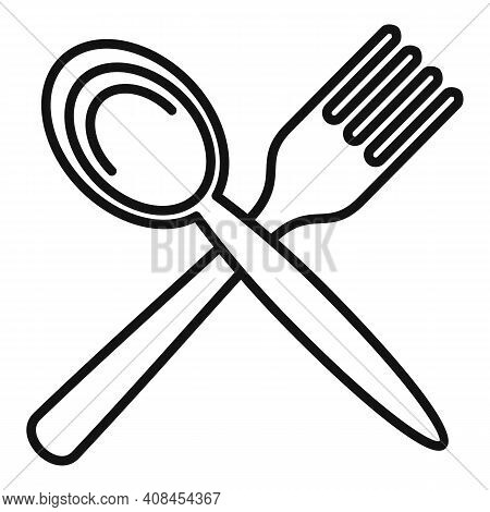 Fork Spoon Icon. Outline Fork Spoon Vector Icon For Web Design Isolated On White Background