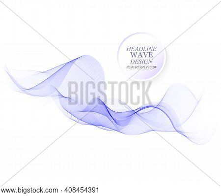Abstract Vector Background, Transparent Waved Lines For Brochure, Website Design. Blue Smoke Wave.