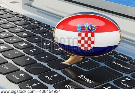 Learn Croatian Online Concept. Speech Balloon With Croatian Flag, 3d Rendering Isolated On White Bac