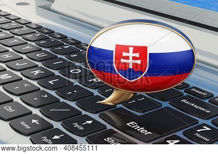 Learn Slovak Online Concept. Speech Balloon With Slovak Flag, 3d Rendering Isolated On White Backgro