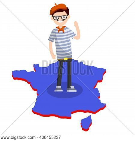 Typical Frenchman. Man In A Blue Striped T-shirt On The Map Of The European Country Of France. Carto