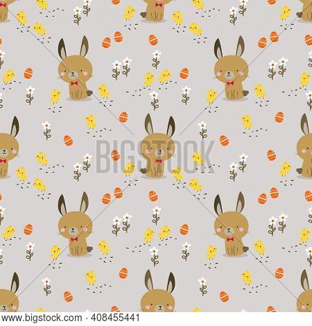 Lovely Bunny, Easter Egg And Chick Seamless Pattern