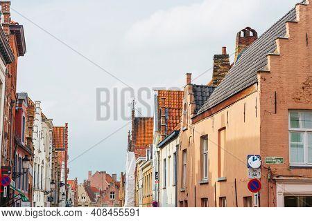 BRUGES, BELGIUM - April 14, 2018: Antique building view in Bruges, Belgium