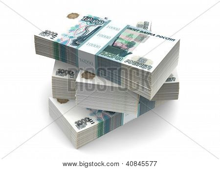 Rubles Bills Packs (with clipping path)