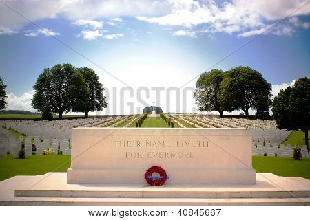 British and Canadian graves in a first world war cemetary near Arras in northern France. poster