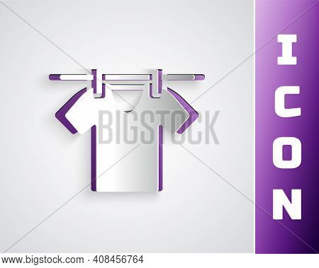 Paper Cut Drying Clothes Icon Isolated On Grey Background. Clean Shirt. Wash Clothes On A Rope With