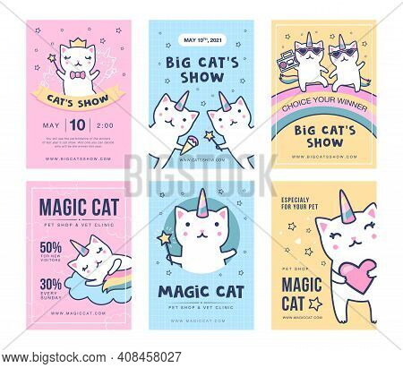 Unicorn Cats Flyers Set. Cute Baby Caticorns With Rainbow Tails Having Fun Vector Illustrations With