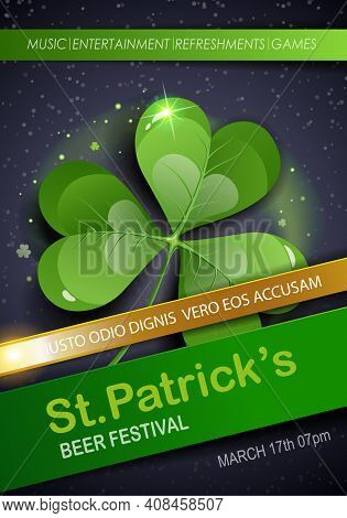 St. Patrick's Day Traditions And Symbols Party Flyer, Brochure, Invitations Template.  Shamrock, On