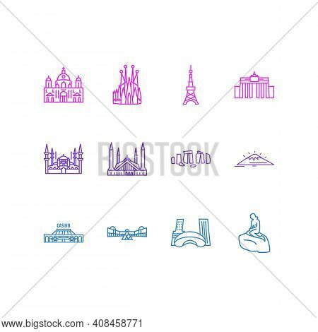 Vector Illustration Of 12 Tourism Icons Line Style. Editable Set Of Blue Mosque, Faisal Mosque, Las