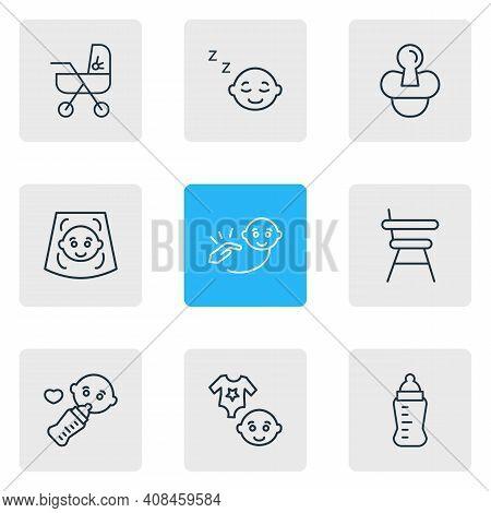 Illustration Of 9 Baby Icons Line Style. Editable Set Of Baby Ultrasonic Scanning, Sleeping Baby, Du